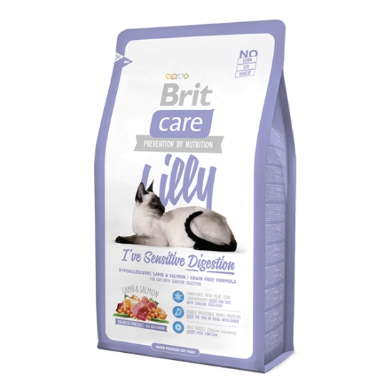 Brit Care Lilly I've Sensitive Digestion Kuzulu Somonlu Tahılsız Kedi Maması 2 Kg.