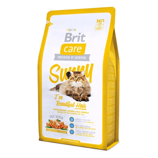Brit Care Sunny I've Beautiful Hair Somon Ve Pirinçli Yetişkin Kedi Maması 7 Kg.